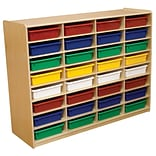 Wood Designs™ 32 - 3 Letter Tray Storage Unit With 32 Assorted Trays, Birch