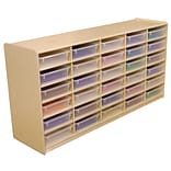 Wood Designs™ 30 - 3 Letter Tray Storage Unit With 30 Translucent Trays, Birch