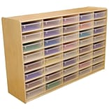 Wood Designs™ 40 - 3 Letter Tray Storage Unit With 40 Translucent Trays, Birch