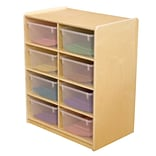 Wood Designs™ 8 - 5 Letter Tray Storage Unit With 8 Translucent Trays, Birch