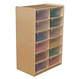 Wood Designs™ 12 - 5 Letter Tray Storage Unit With 12 Translucent Trays, Birch