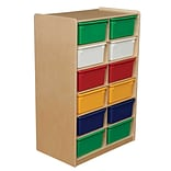 Wood Designs™ 12 - 5 Letter Tray Storage Unit With 12 Assorted Trays, Birch