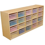 Wood Designs™ 20 - 5 Letter Tray Storage Unit With 20 Translucent Trays, Birch