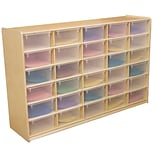 Wood Designs™ 30 - 5 Letter Tray Storage Unit With 30 Translucent Trays, Birch