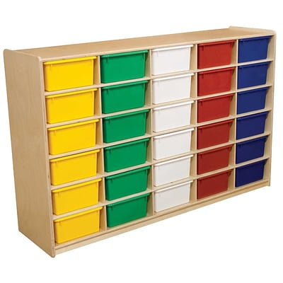 Wood Designs™ 30 - 5 Letter Tray Storage Unit With 30 Assorted Trays, Birch