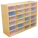 Wood Designs™ 24 - 5 Letter Tray Storage Unit With 24 Translucent Trays, Birch