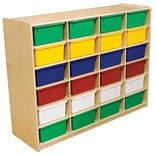 Wood Designs™ 24 - 5 Letter Tray Storage Unit With 24 Assorted Trays, Birch