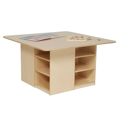 Wood Designs™ 36 Square Plywood Cubby Table Without Trays, Natural