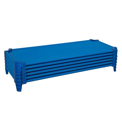 Wood Designs™ Unassembled Absolute Best Space Saving Cot, Solid Blue, 6/Set