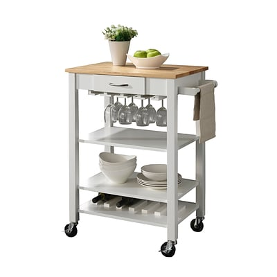 COASTER Solid Rubber Wood 35.5 H x 29 W x 25.5 D Kitchen Carts White