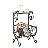COASTER 26 H x 17 W x 19 D Metal & Glass End Table Magazine Rack