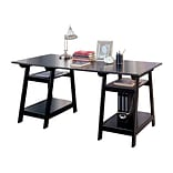 COASTER Pedestal Wood Desk With Open Shelves