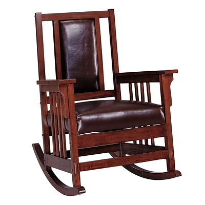 COASTER Leather Wood Rocking Chair Medium Wood Tone