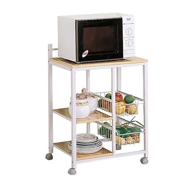 COASTER Wood & Metal 33.5 H x 23.75 W x 17 D Serving Cart White