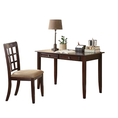COASTER Table Desk with Wood Two Drawer and Chair Cherry