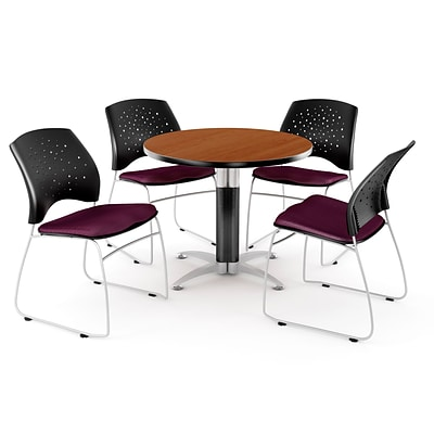 OFM™ 42 Round Multi-Purpose Cherry Table With 4 Chairs, Burgundy