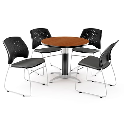 OFM™ 36 Round Multi-Purpose Cherry Table With 4 Chairs, Slate Gray