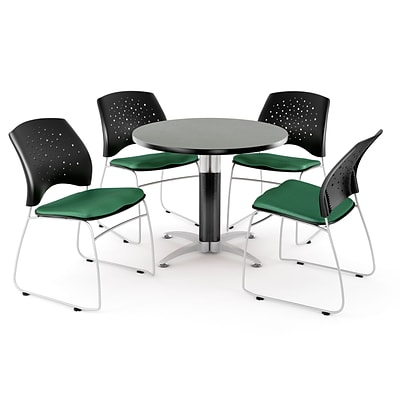 OFM™ 36 Round Multi-Purpose Gray Nebula Table With 4 Chairs, Shamrock Green