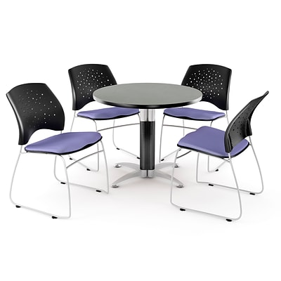 OFM™ 42 Round Multi-Purpose Gray Nebula Table With 4 Chairs, Lavender