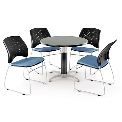 OFM™ 42 Round Multi-Purpose Gray Nebula Table With 4 Chairs, Cornflower Blue