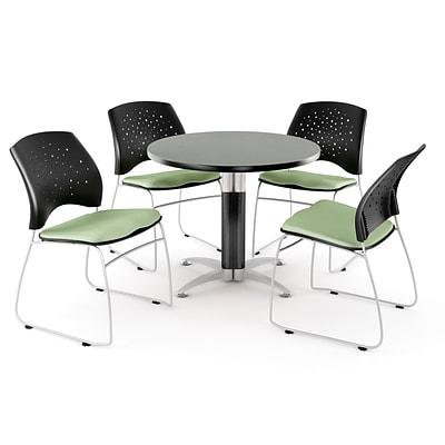 OFM™ 42 Round Multi-Purpose Gray Nebula Table With 4 Chairs, Sage Green