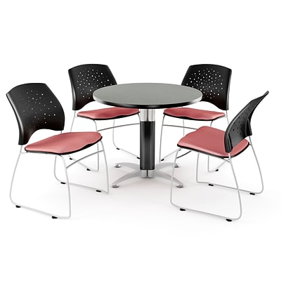 OFM™ 42 Round Multi-Purpose Gray Nebula Table With 4 Chairs, Coral Pink