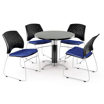 OFM™ 36 Round Multi-Purpose Gray Nebula Table With 4 Chairs, Royal Blue