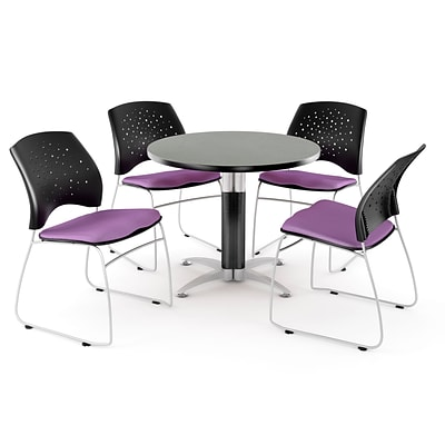 OFM™ 36 Round Multi-Purpose Gray Nebula Table With 4 Chairs, Plum