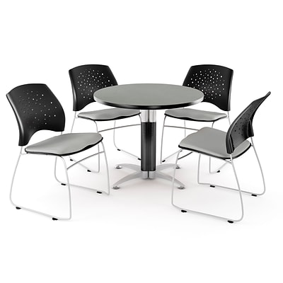 OFM™ 42 Round Multi-Purpose Gray Nebula Table With 4 Chairs, Putty