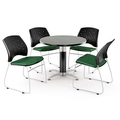 OFM™ 42 Round Multi-Purpose Gray Nebula Table With 4 Chairs, Forest Green