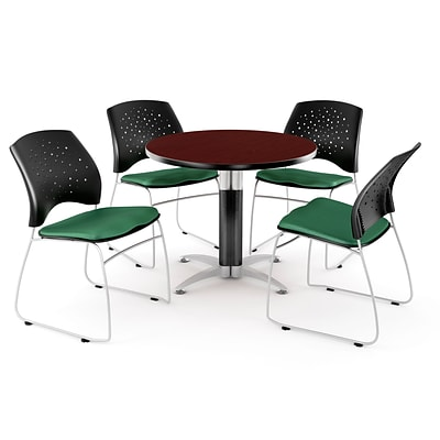 OFM™ 42 Round Multi-Purpose Mahogany Table With 4 Chairs, Shamrock Green