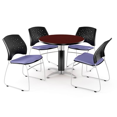 OFM™ 42 Round Multi-Purpose Mahogany Table With 4 Chairs, Lavender