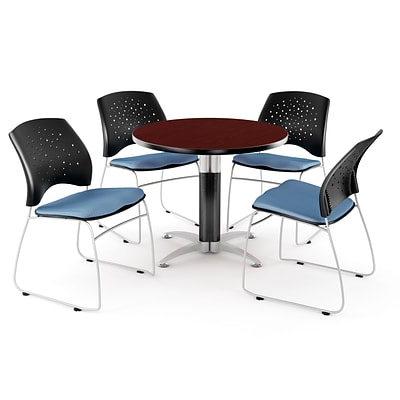 OFM™ 36 Round Multi-Purpose Mahogany Table With 4 Chairs, Cornflower Blue