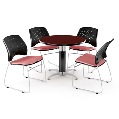 OFM™ 42 Round Multi-Purpose Mahogany Table With 4 Chairs, Coral Pink