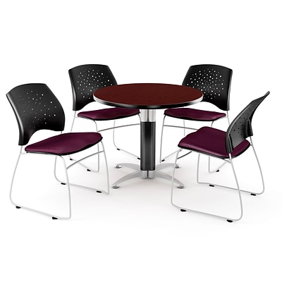OFM™ 36 Round Multi-Purpose Mahogany Table With 4 Chairs, Burgundy