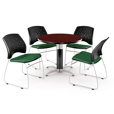 OFM™ 42 Round Multi-Purpose Mahogany Table With 4 Chairs, Forest Green