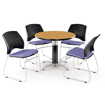 OFM™ 36 Round Multi-Purpose Laminate Oak Table With 4 Chairs, Lavender