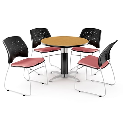 OFM™ 36 Round Multi-Purpose Laminate Oak Table With 4 Chairs, Coral Pink