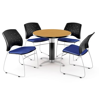 OFM™ 42 Round Multi-Purpose Laminate Oak Table With 4 Chairs, Royal Blue