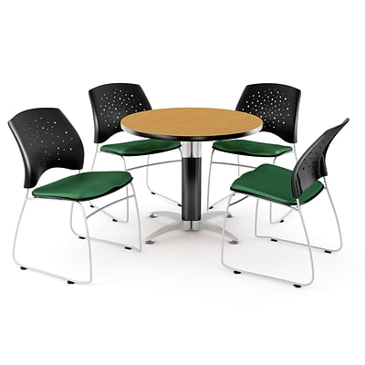 OFM™ 42 Round Multi-Purpose Laminate Oak Table With 4 Chairs, Forest Green