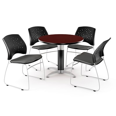 OFM™ 42 Round Multi-Purpose Mahogany Table With 4 Chairs, Slate Gray