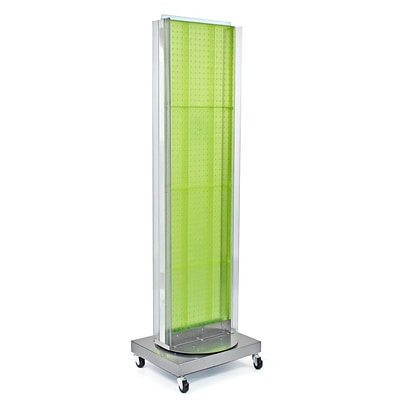 Azar Displays 16 x 60 Pegboard Floor Stand Revolving Base Green