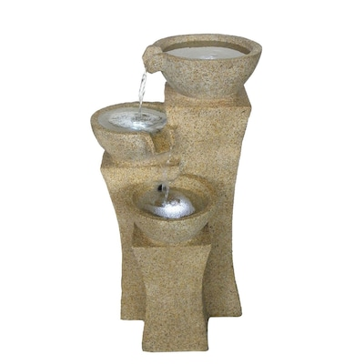 """Pure Garden 25"""" Cascade Bowls Outdoor Fountain With Led Lights, Brown/tan"""