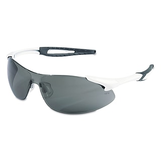 Crews Inertia Polycarbonate Safety Glasses White Frame and Gray Anti Fog Lens