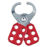 Master Lock® Safety Lockout Hasps, Steel, Red, 1-1/2 Jaw Diameter, Each