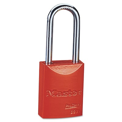 Pro Series® Safety Tumbler Padlocks, 5 pin, Aluminum, Red, Keyed Different, 6/Box