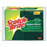 Heavy-Duty Scrub Sponge, 4 1/2 x 2 7/10 x 6/10, Green/Yellow, 6/Pk