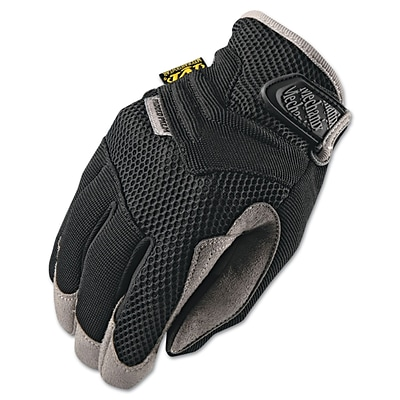 Mechanix Wear® Padded Palm Gloves, Spandex/Synthetic, Hook & Loop Cuff, M Size, Black