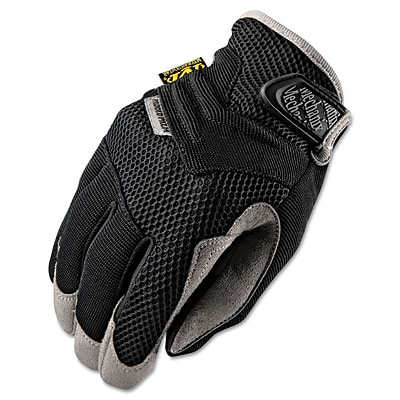 Mechanix Wear® Padded Palm Gloves, Spandex/Synthetic, Hook & Loop Cuff, Large, Black