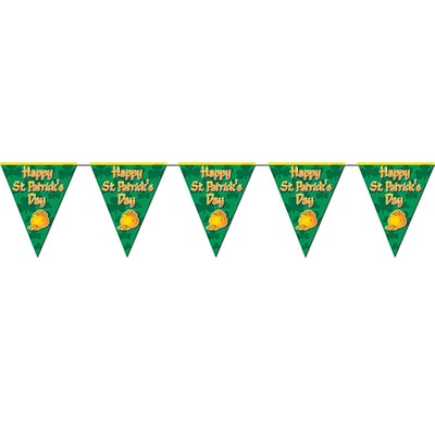 Beistle 10 x 12 Happy St Patricks Day Pennant Banner; Green/Gold, 4/Pack